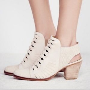 Free People Far Hills Cream Leather Ankle Boots
